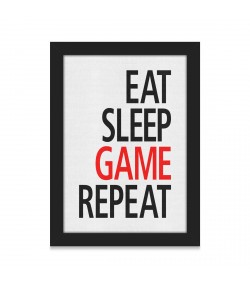 Poster A4 com Moldura Eat Sleep Game Repeat
